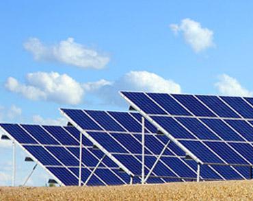 Paineis de energia solar em funcionamento